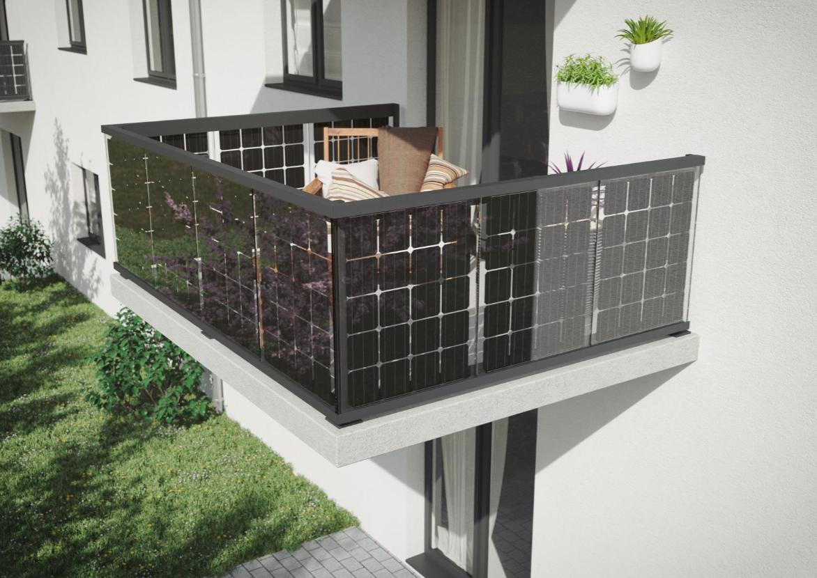 Solar Balkongeländer aufgesetzte Montage