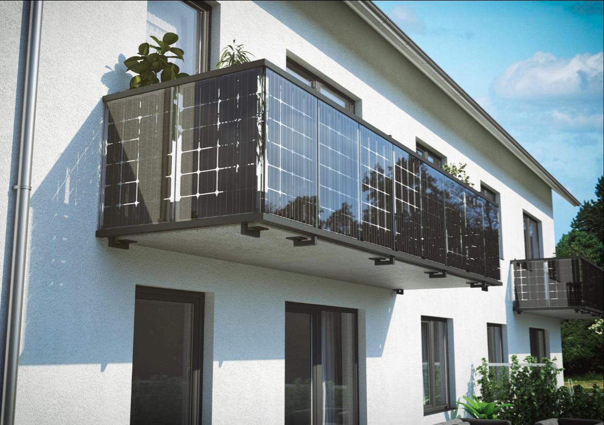 Solar Balkongeländer Befestigung von unten