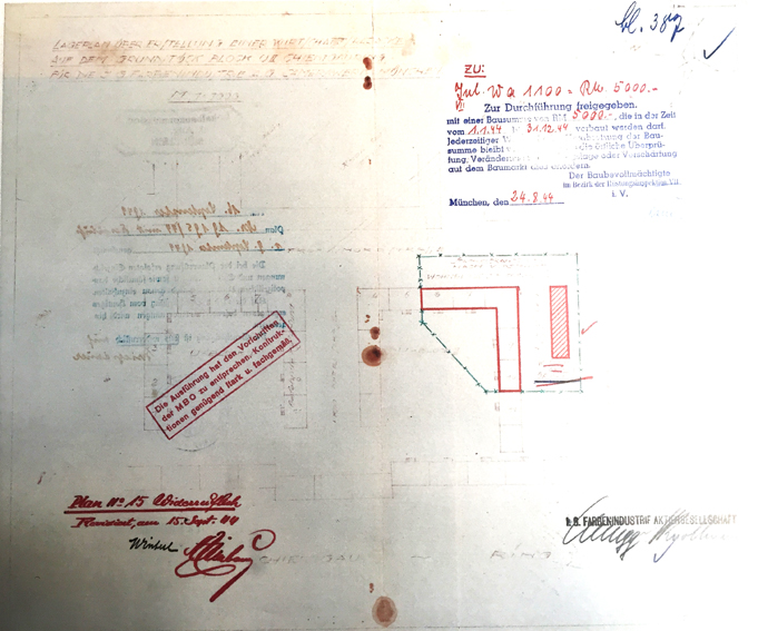 Lageplan des KZ-Außenlagers München mit der vorgesehenen Küchenbaracke, 1944, Detail, Informationstafel der KZ-Gedenkstätte Dachau © Lokalbaukomission München