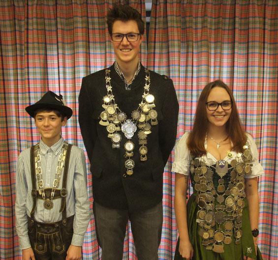 Kilian Lehnig (Jugendkönig), Julius Rust (Pistolenkönig), Lisa Förster (Schützenkönigin)