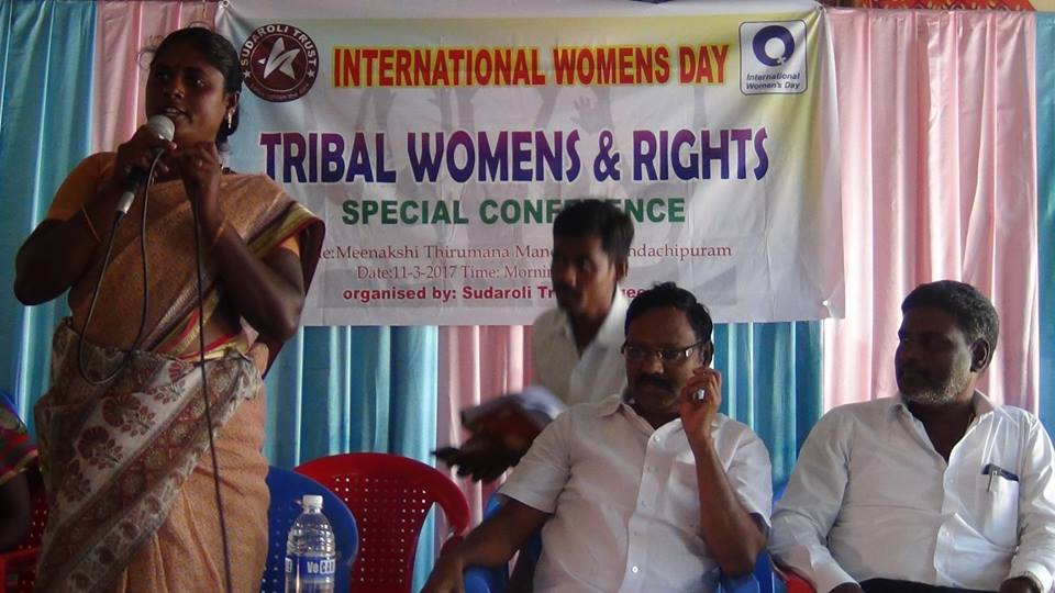 On the 11th March, POPE has been invited by Sudaroli Trust for the Special Conference on Tribal Women Rights at Kandachipuram, Villupuram District.                       Tribal Women Organiser Mrs. Sulliamma welcome address.