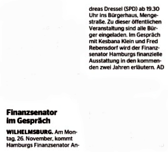 Wochenblatt Wilhelmsburg vom 21.11.2018, Titelseite