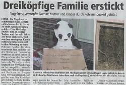 Zeitungsartikel über erstickte Familie