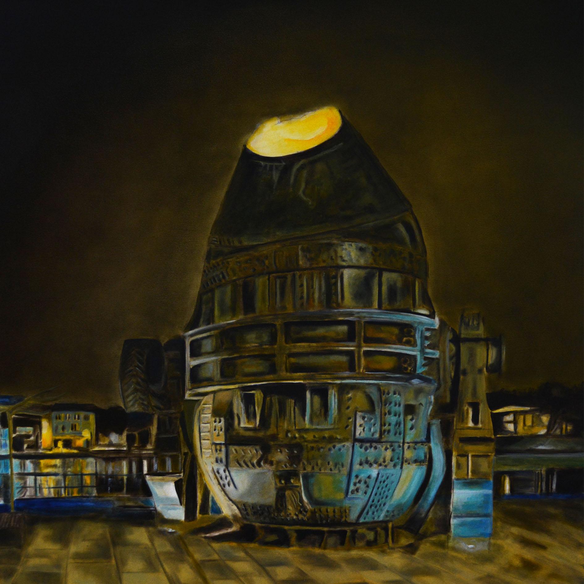 STAHL-KONVERTER, Öl auf Leinwand, 100 x 100 cm