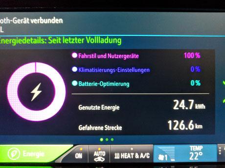 Elektroauto Erfahrungsbericht Display Energiedetails Aufladen Opel Ampera e