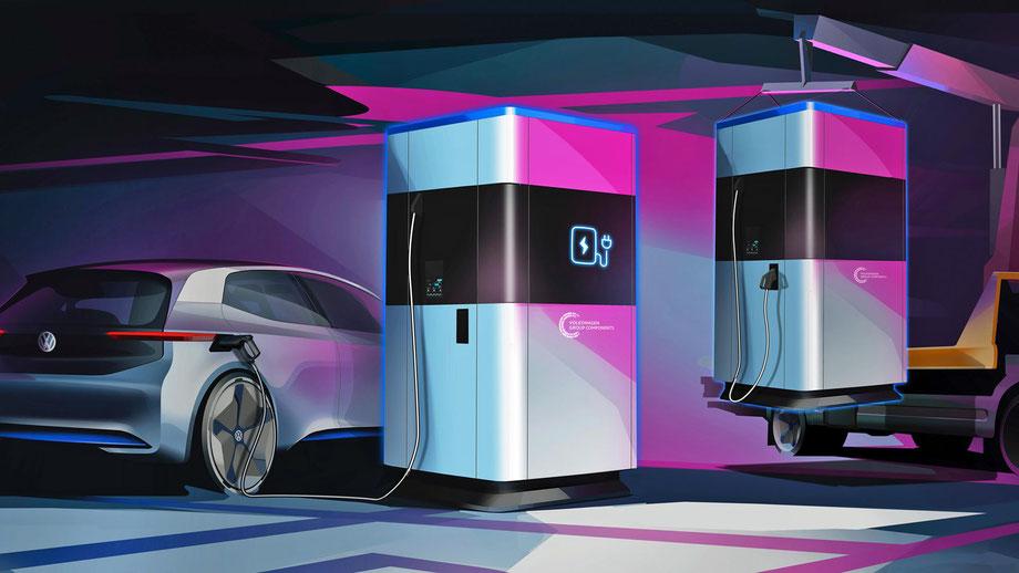 Schnellladestation mobil von VW, Powerbank, Elektroautomobilität, unterwegs aufladen