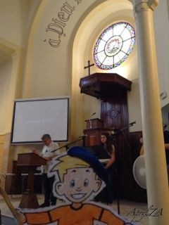 Flat Stanley worships with the International Christian Community of Provence in Aix-en-Provence, France