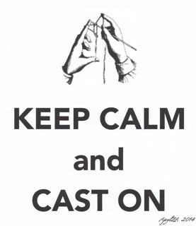 Keep Calm and Cast On knitting hands