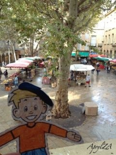 Flat Stanley overlooking the produce market on Place Richèlme from the ICCP office window, Aix-en-Provence, France