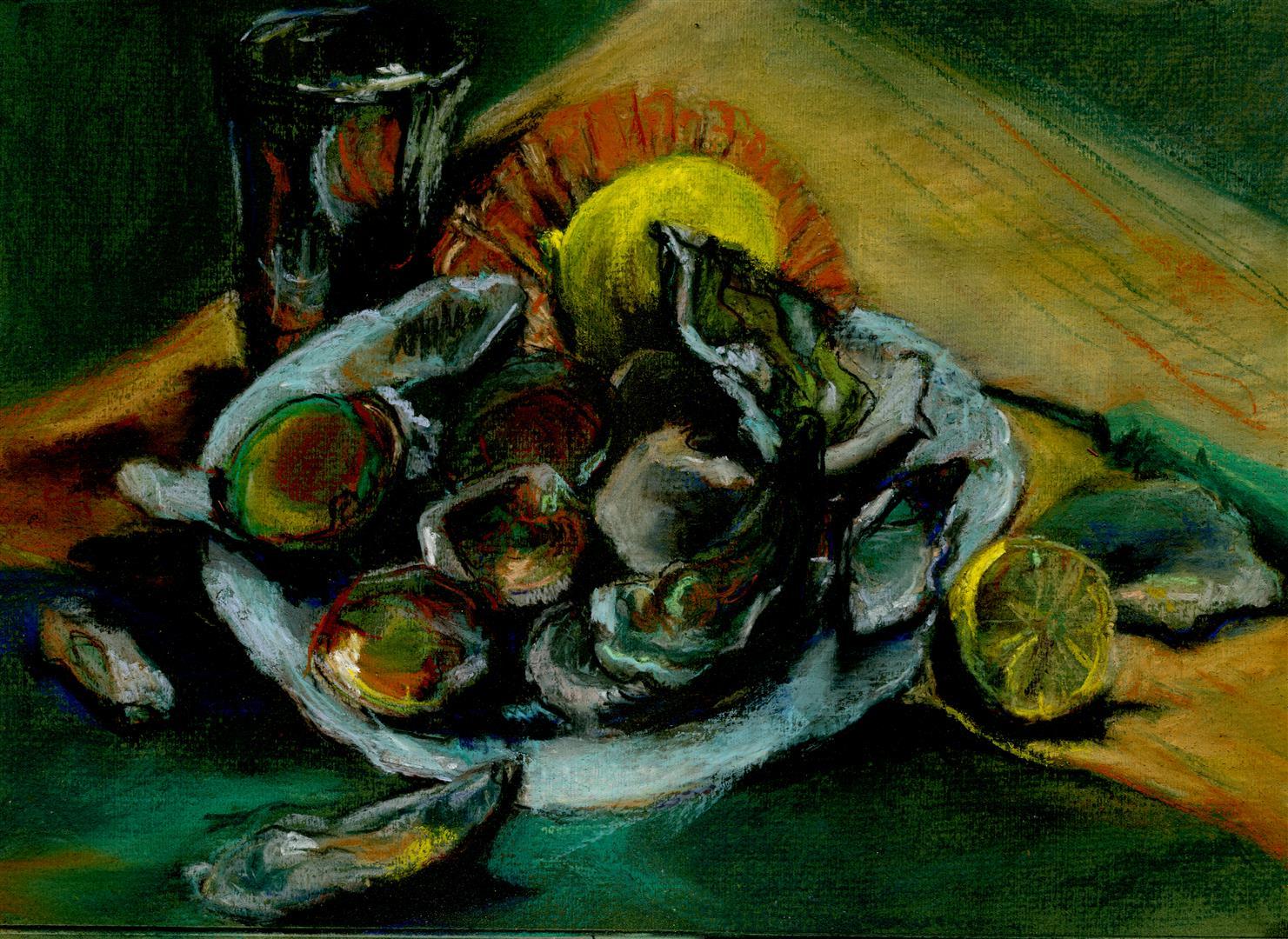 L'assiette d'huîtres (pastel)