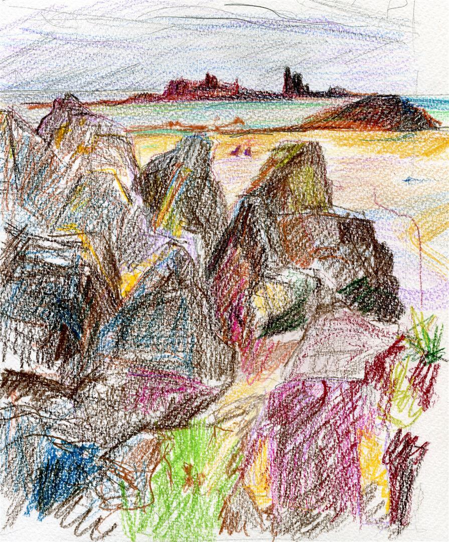 Les rochers de Saint Jacut (crayons de couleurs)