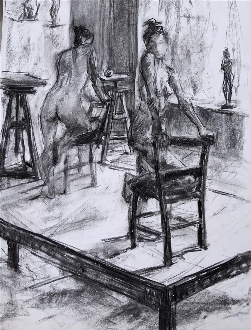 Pauline et la chaise (fusain)