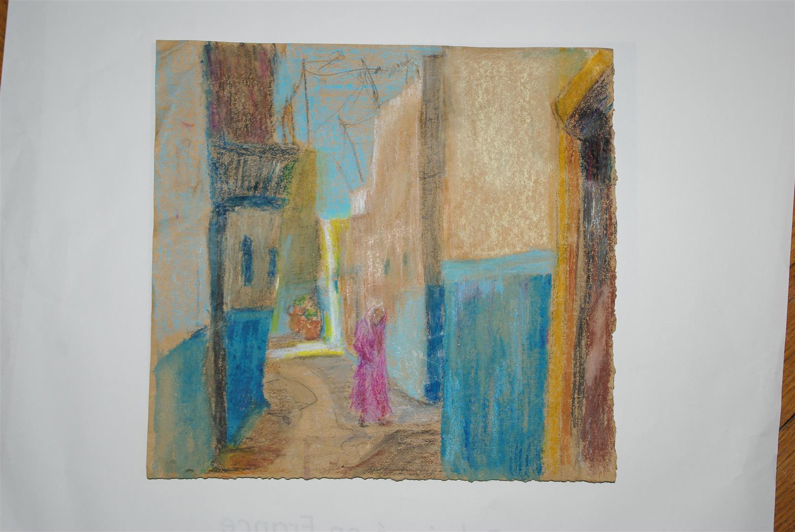 Traversée en rose à Rabat (pastel)