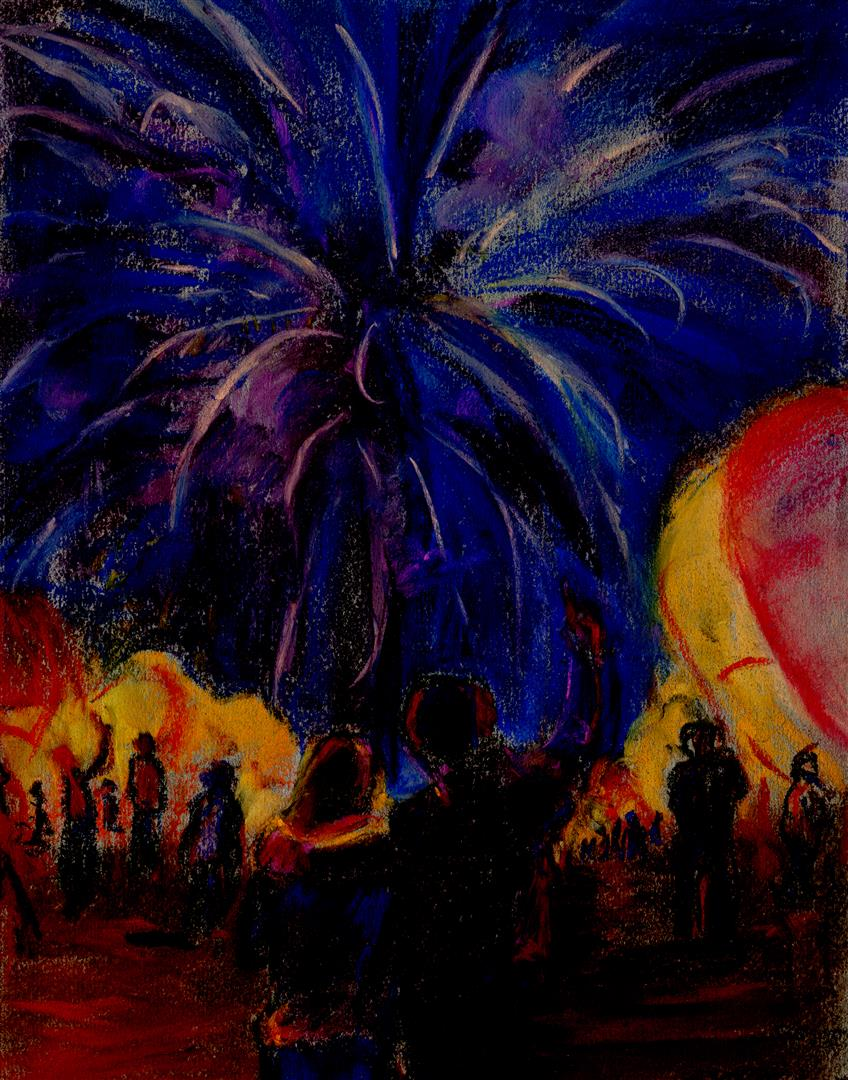 Départ des montgolfières de nuit (pastel)