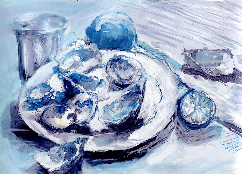 L'assiette d'huîtres (encre)