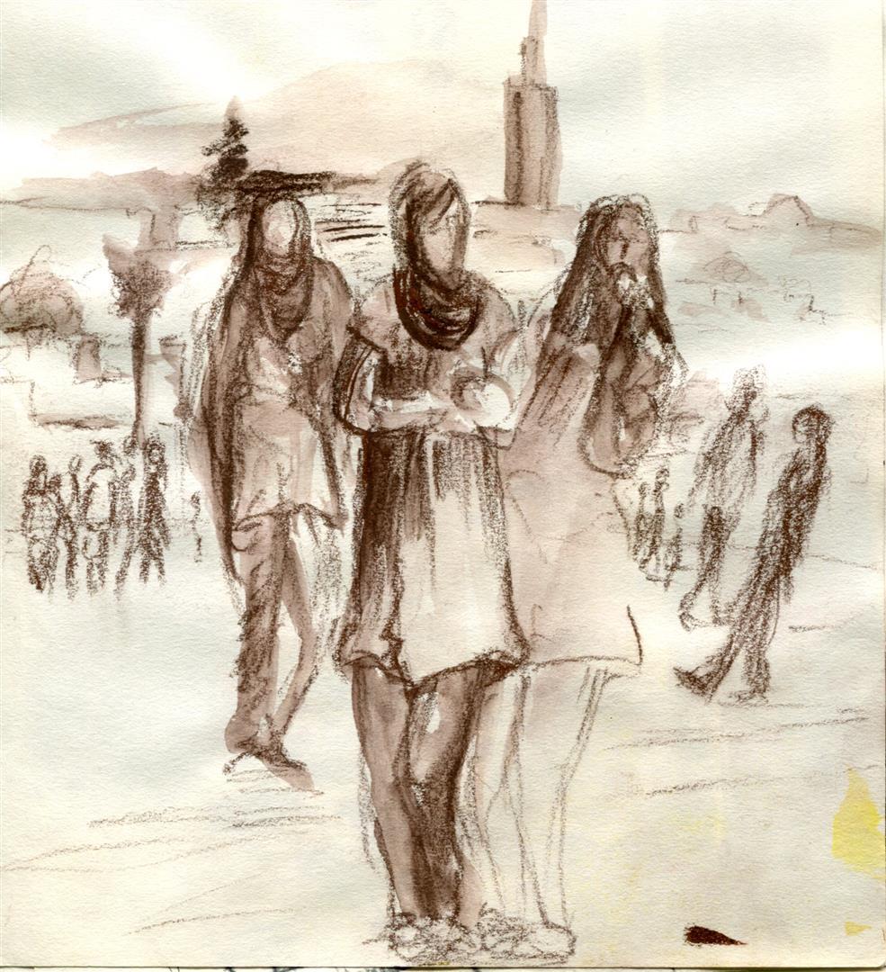 Promenades au bord du Bou Reg Reg (crayons,encre)