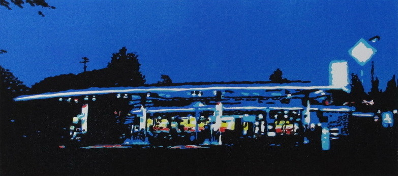 2013 Nachtfahrt, 20x42 cm, Farbholzschnitt - Auflage 8