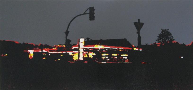 2013 Rot gewinnt, 20x42 cm, Farbholzschnitt Auflage 8
