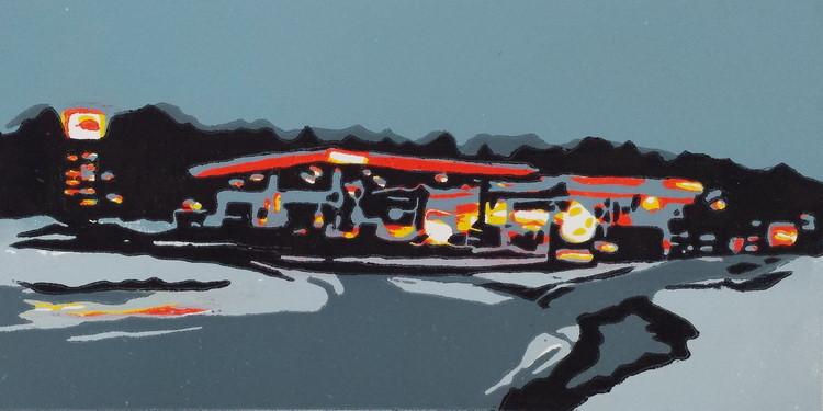 2014 Winterlicht, 12,5 x 25 cm, Farbholztschnitt - Auflage 8