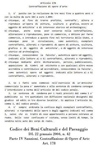 T.Follesa_Declinazioni sul Falso: falsi veri e falsi leciti_Codice dei Beni Culturali e del Paesaggio art. 178