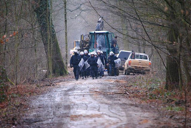 Polizeieinsatz am 21.02.2017. RWE und die Polizei.