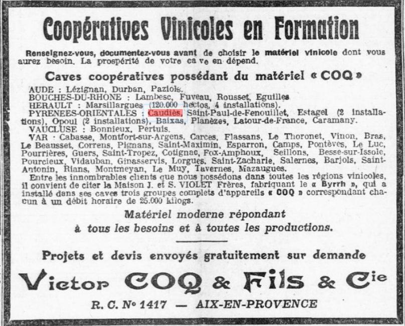 Caves coop 1923