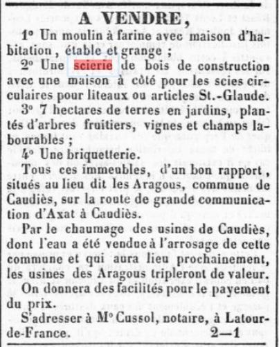 Scierie Aragous 1859