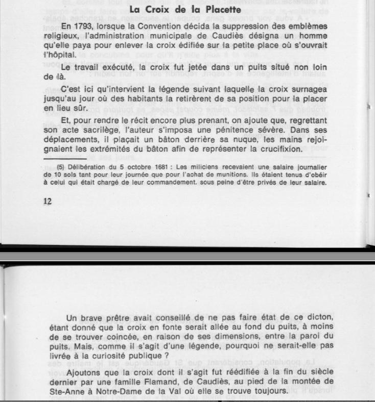 Texte Croix de la Placette François Fabre