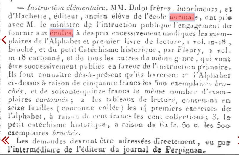 Journal des Pyrénées Orientales, 26 novembre 1831 (ressourcespatrimoines.laregion.fr)