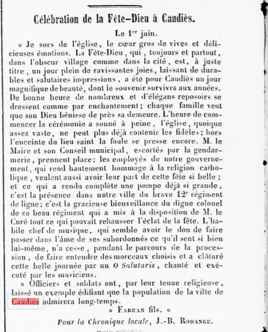 Journal des Pyrénées Orientales 8 juin 1853