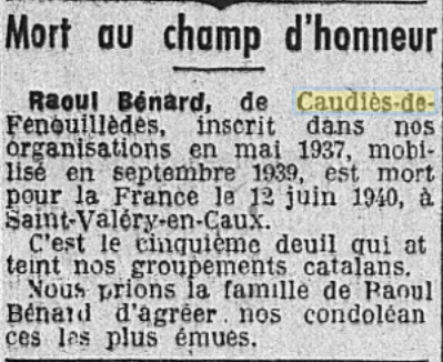 Benard mort 1940