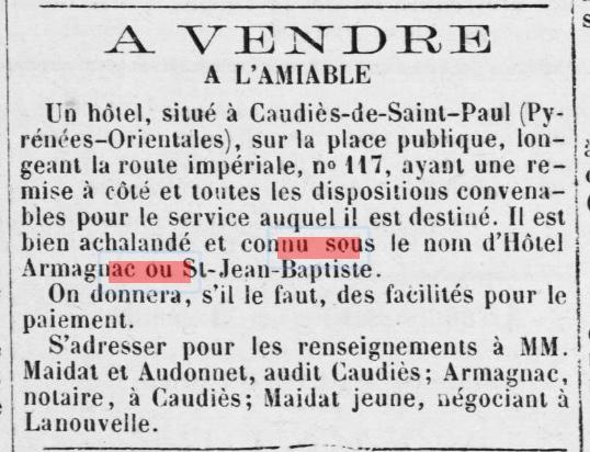 Hotel St Jean Baptiste vente 1867