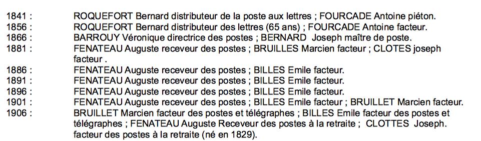 Bureau de poste de Caudiès (note*)