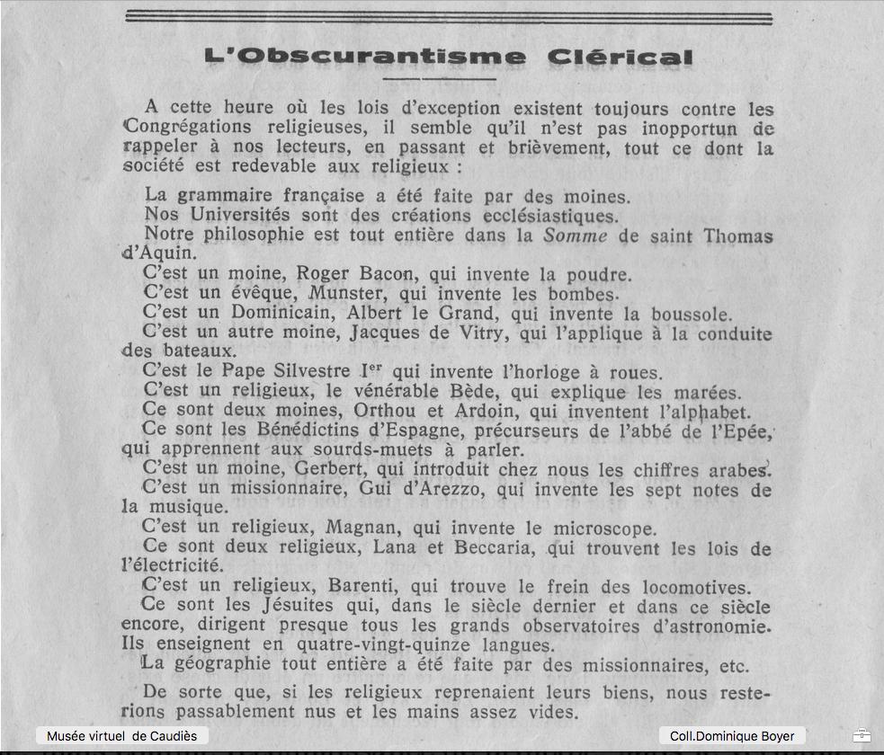 osbcurantisme clérical 1933