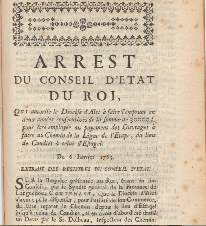 Recueil des Edits, déclarations, arrêtés ordonnances pour la province du Languedoc  1764 (gallica.bnf.fr)