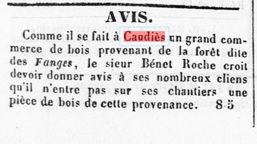 Bois Benet Roche 1862
