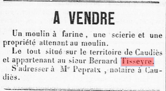 vente moulin Tisseyre