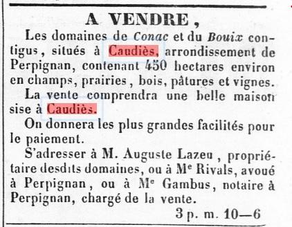 Journal des Pyrénées-Orientales du 21nvembre 1857