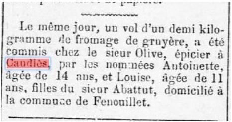 Vol épicerie Olive 1875