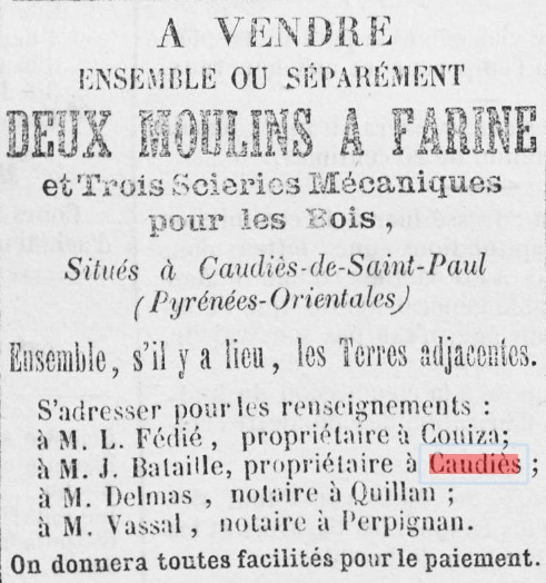 Moulins Scieries vente 1872