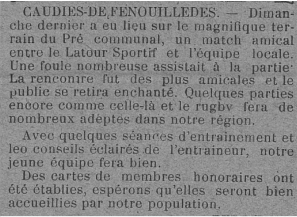 Journal Languedoc Sportif du 9 janvier 1927