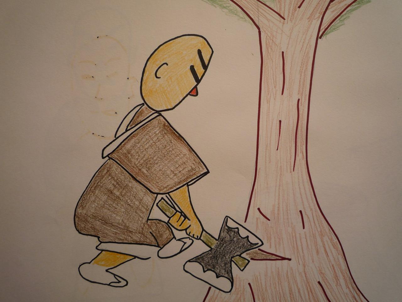 それが気にくわないので、榎木を切り倒しました。