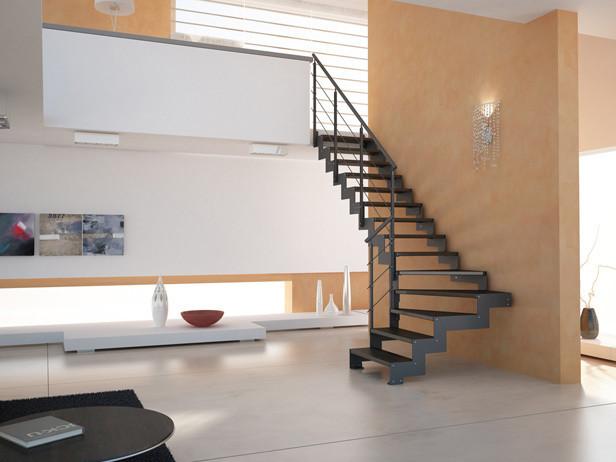 Escaleras metalicas escaleras laravid trabajos en acero for Escalera metalica en l