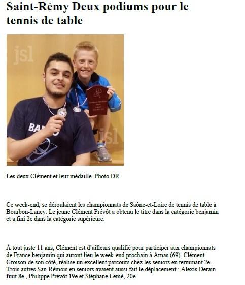 Saint Remy tennis de table