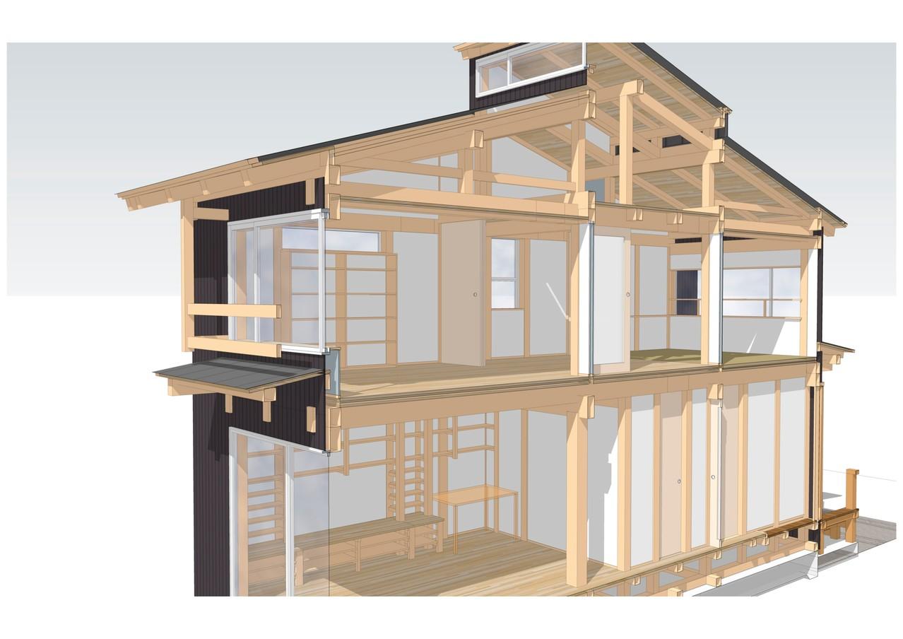 必要最低限で丈夫な造り付け家具。2階北側はロフトの高窓から南の光を取り入れます。夏の煙突効果も。
