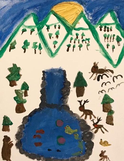 Sedanur aus der 3b zeigt uns eine Landschaft mit interessanten Tieren.