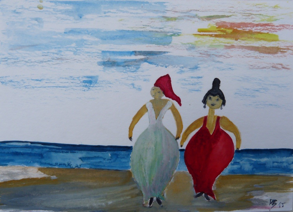 Aquarell Am Strand