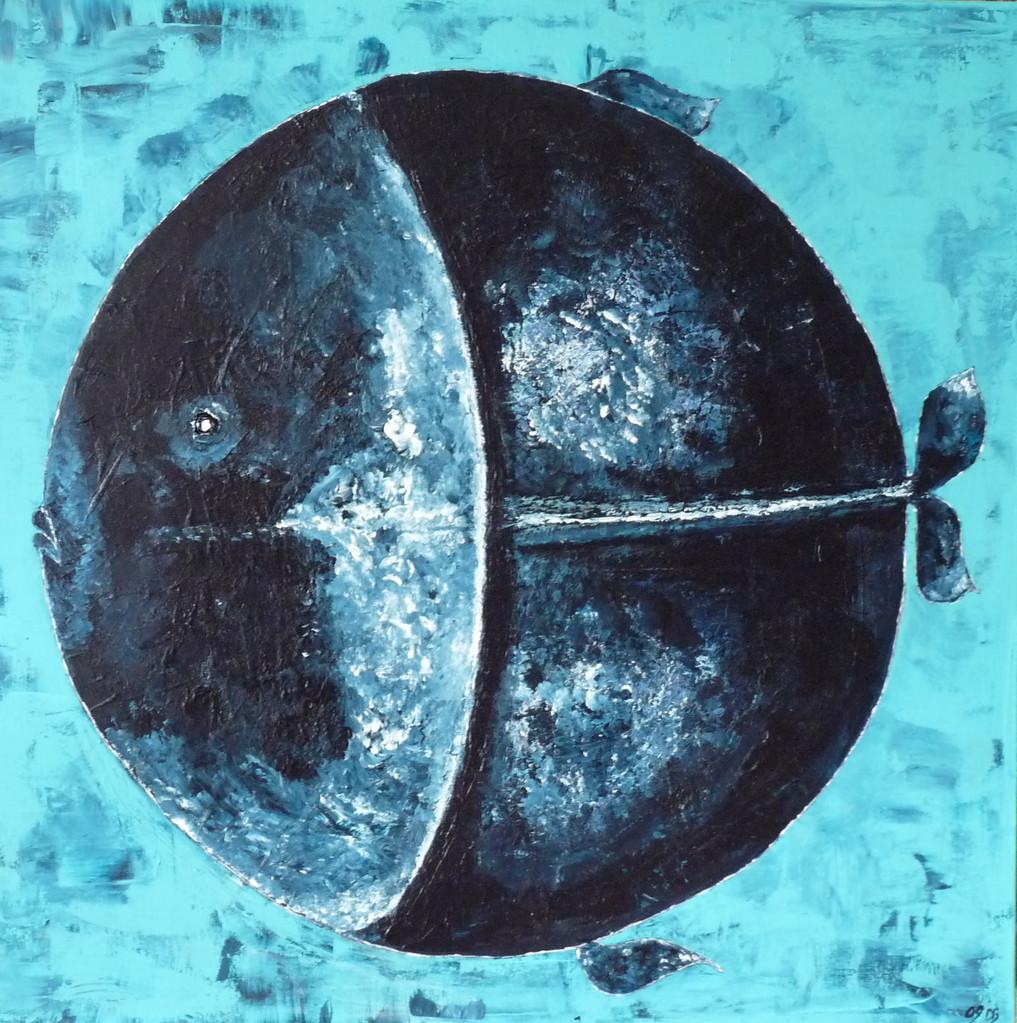 Leinwand Acryl Fisch 80 x 80 cm