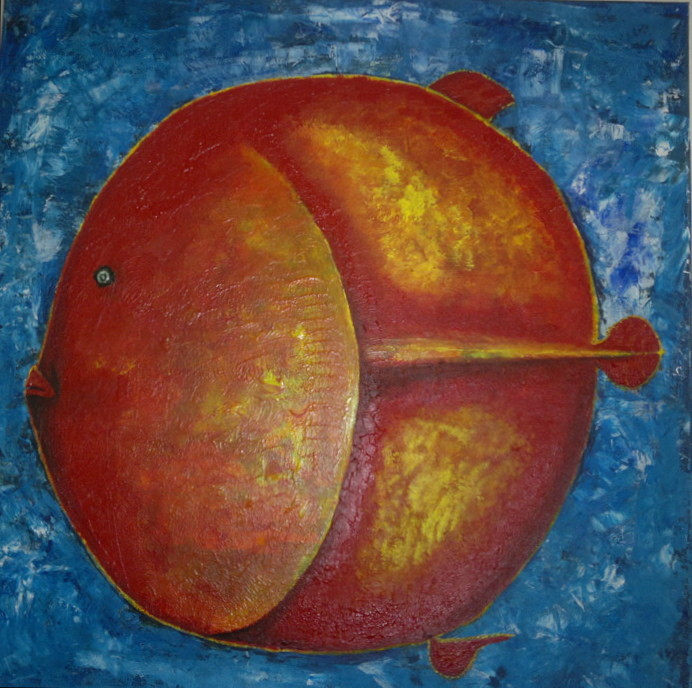 Leinwand Acryl -Fisch  80 x 80 cm   Privatbesitz