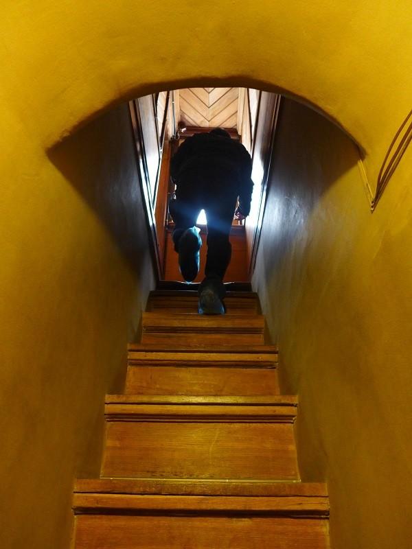 【面白いことに、上階へ いくほど階段が 細くなっていきます。】